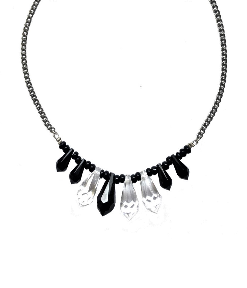 SALE - Dolly Jet and Clear Swarovski Crystals Necklace Small