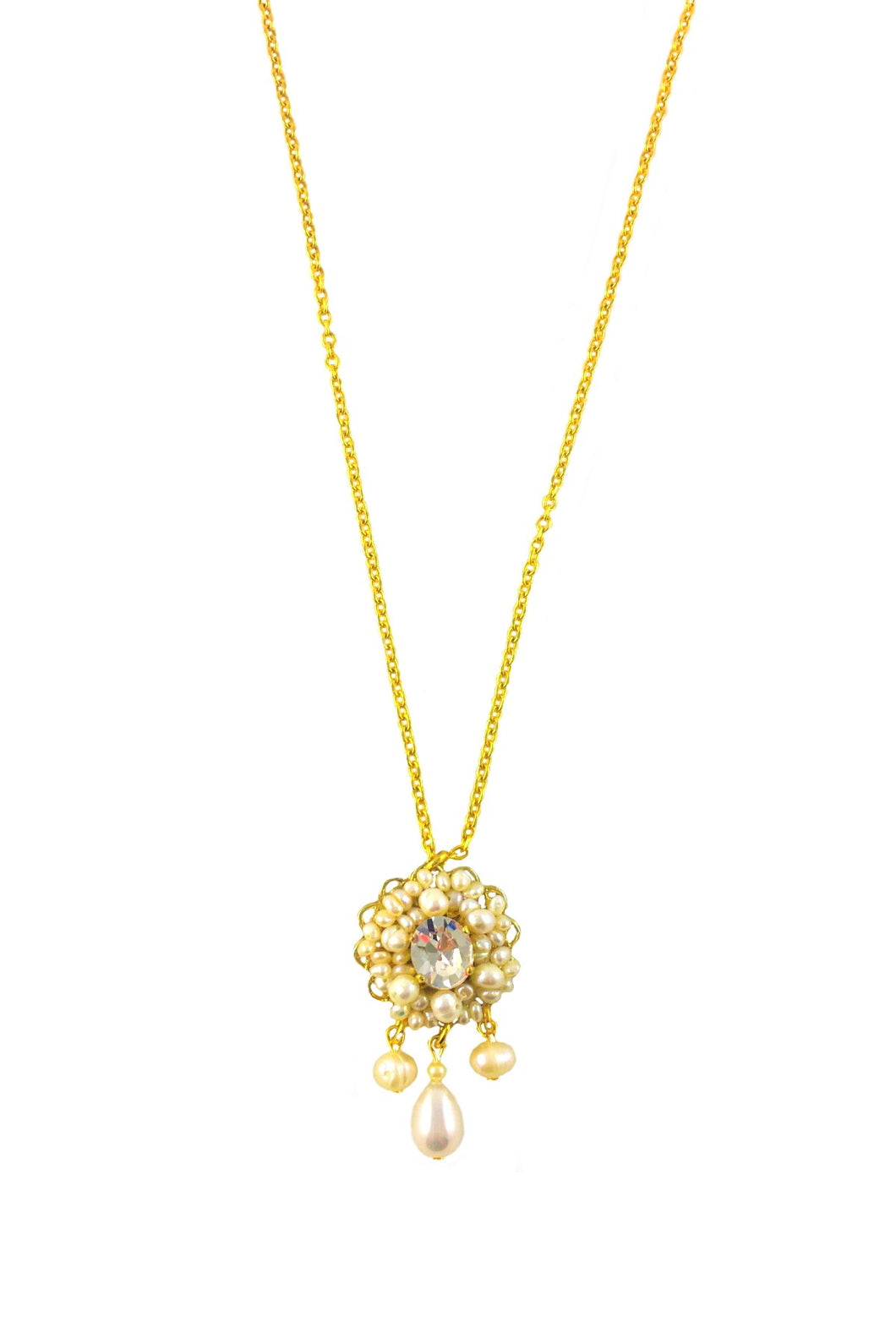 Acacia Gold Pearls and Swarovski crystal  Necklace