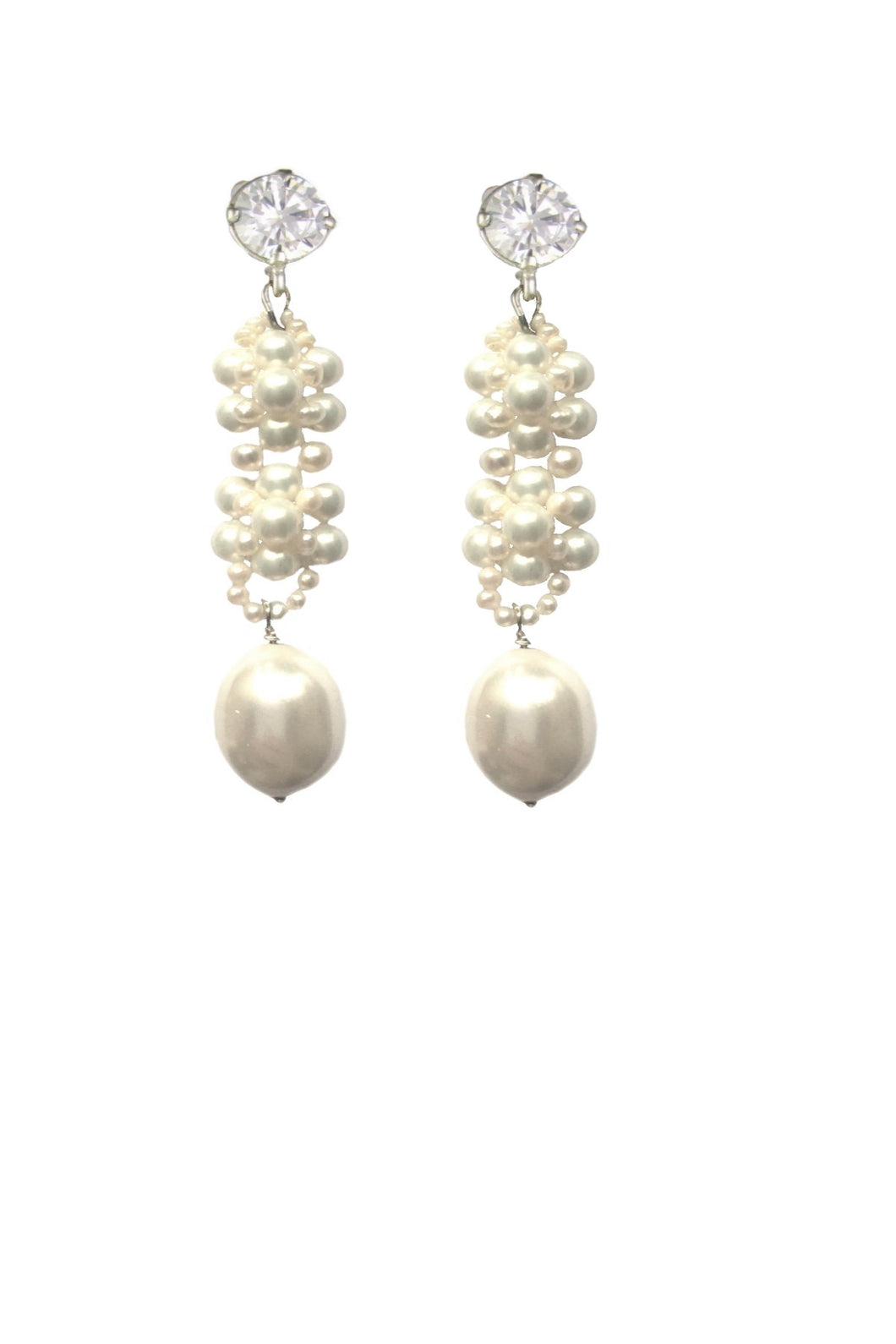 Indira Freshwater pearls and Crystal earrings