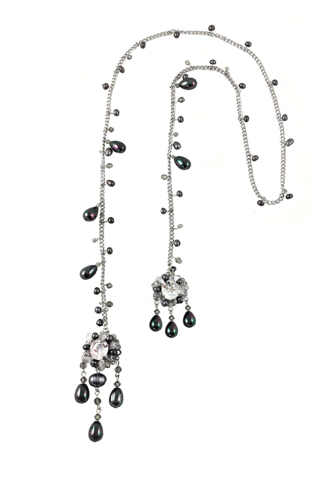 Berty Long Pearls and Swarovski Crystal Necklace
