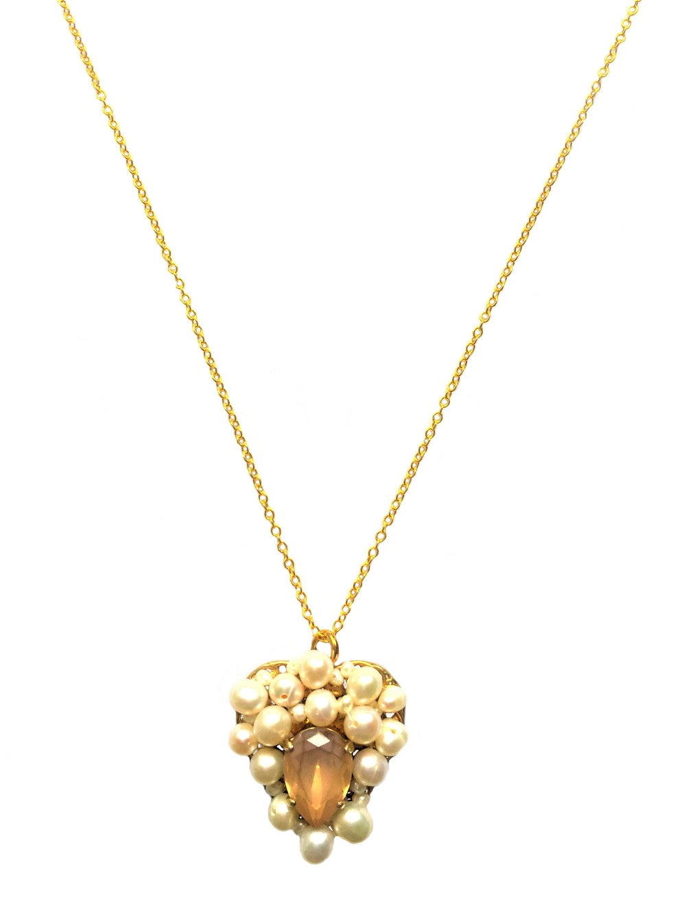 Gold Champagne  Heart Pearl Long Necklace