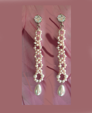 Load image into Gallery viewer, Pearls and Crystal Long Earrings