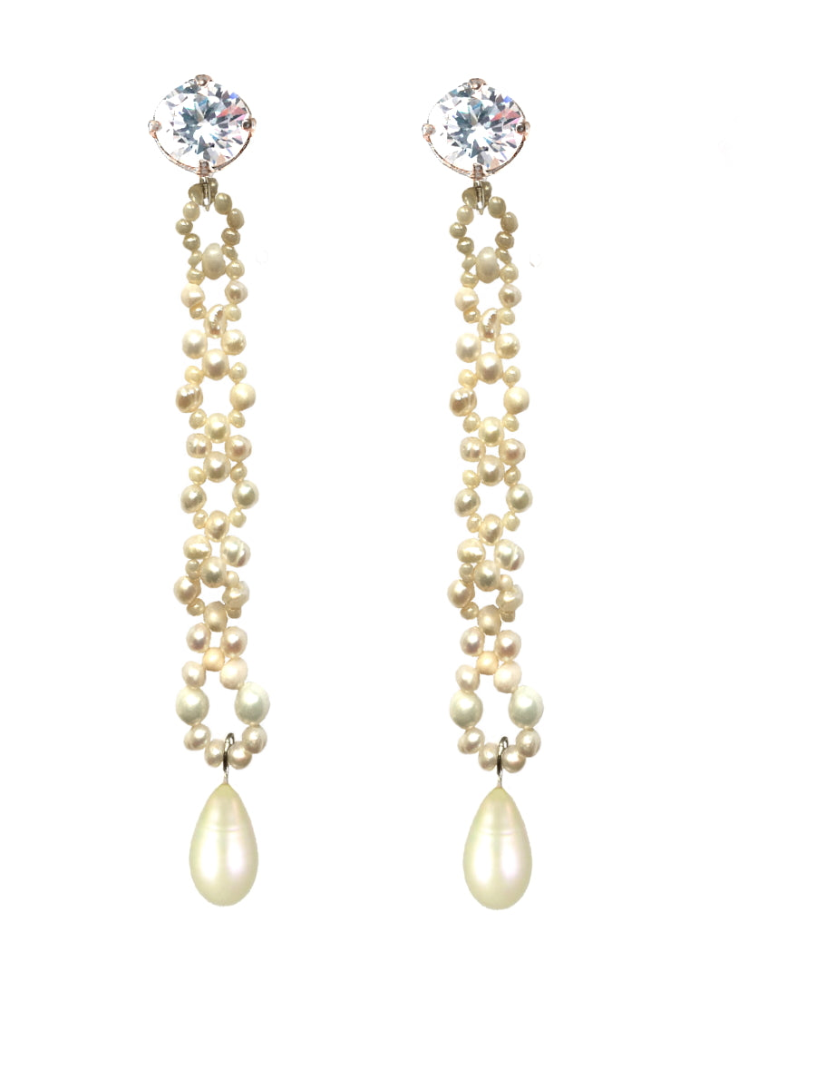 Pearls and Crystal Long Earrings