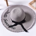 Load image into Gallery viewer, Beach beach big hat embroidered letters raw edge sun hat
