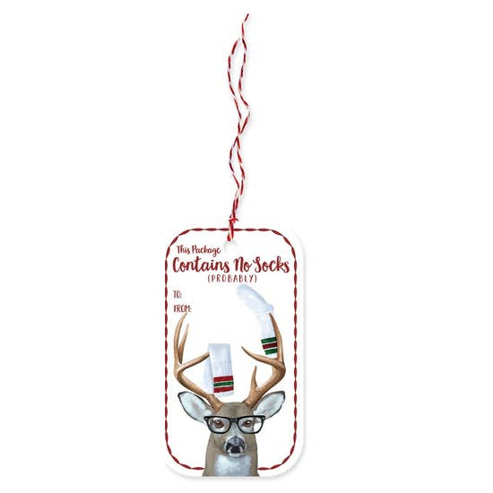 Deer Socks Holiday Gift Tag - 23rd Day