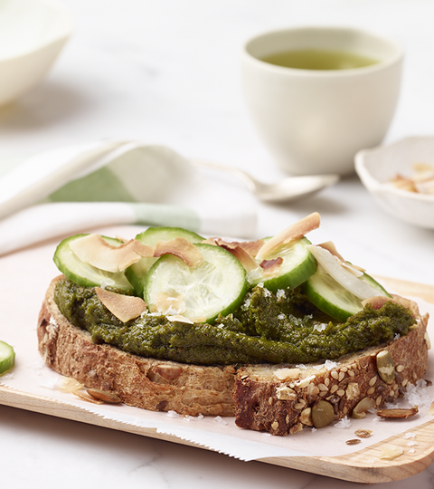 Almond Matcha Toast With Cucumber And Coconut