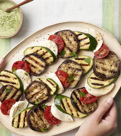 Grilled Summer Vegetables with Matcha-Yogurt Dressing