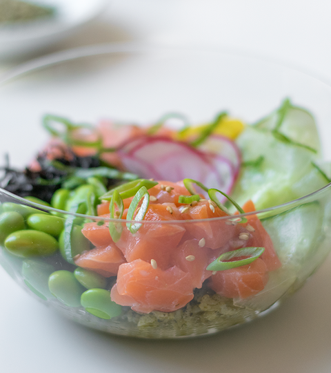 Salmon Poke With Matcha Sushi Rice