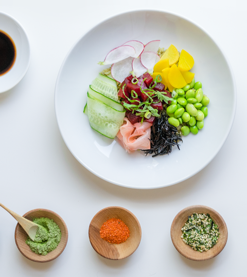 Vegetarian Poke With Matcha Sushi Rice