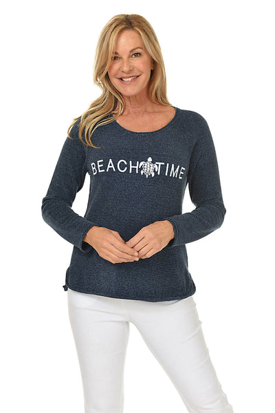 Breezes Beach Time Embroidered Chenille Sweater