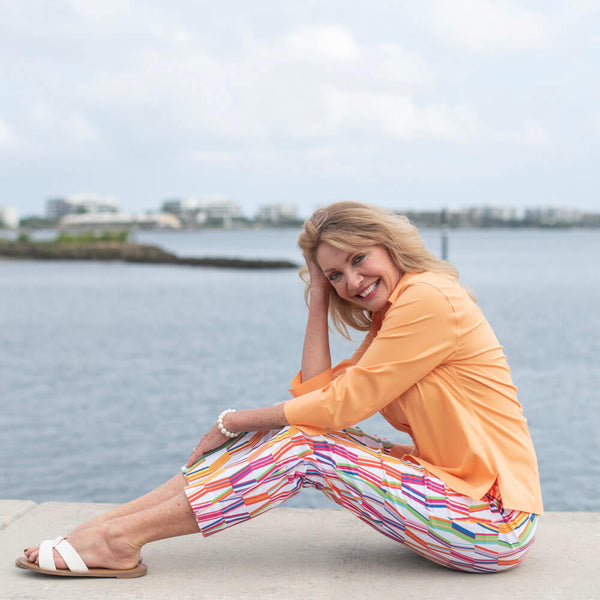 Krazy Larry Rainbow Rays Pull-On Ankle Pant and Foxcroft Mellow Melon Non-Iron Button-Front Blouse