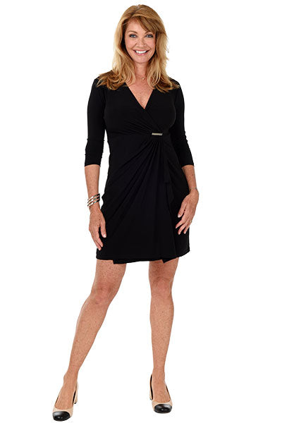 3/4 Sleeve Surplice Dress