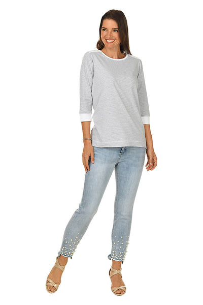 French Dressing Pearl Embellished Denim Pant