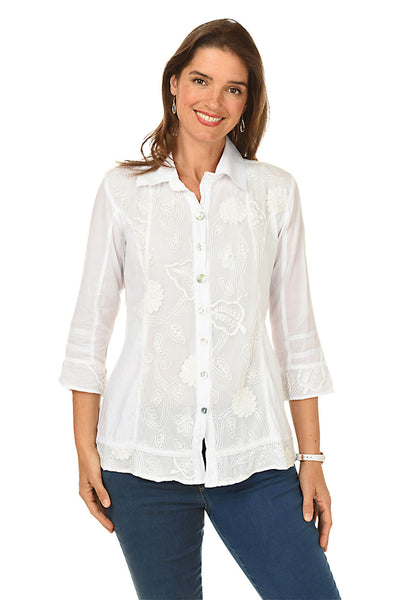Embroidered Mesh Button-Front Shirt