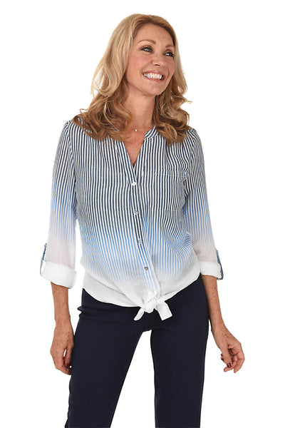Faded Stripes Tie-Front Blouse BY: ZAC AND RACHEL