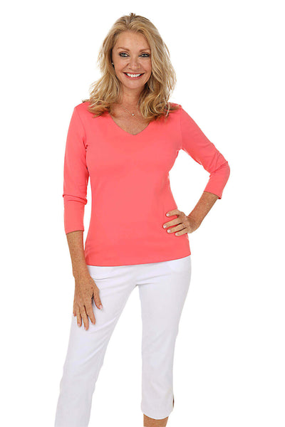 Classic Microfiber V-Neck Top by Judy P