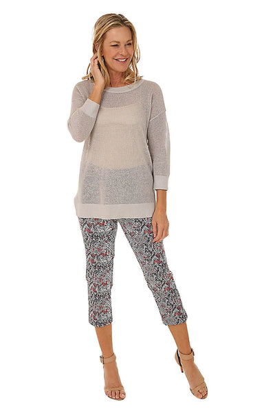 Tribal Open Weave Lurex Sweater and Tribal Reptile Pull-On Bengaline Capri Pant