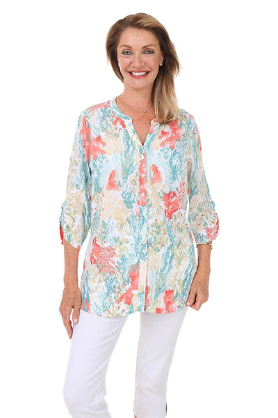 French Dressing Monet Floral Button-Front Blouse