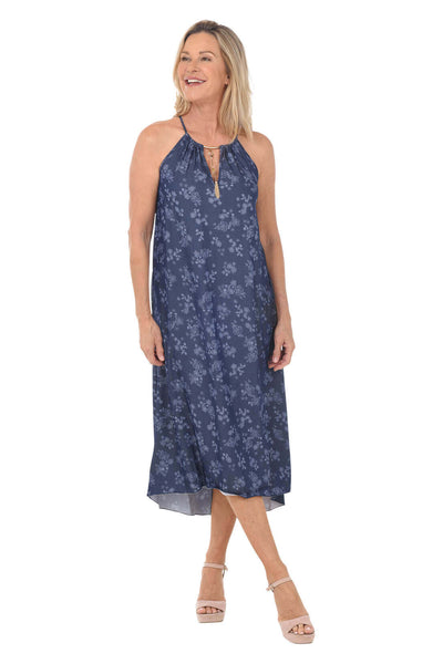 Mlle Gabrielle Sketched Flowers Sleeveless Halter Dress