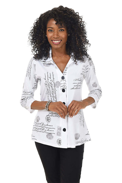 Parsley and Sage Petite Sydney Button-Front Shirt