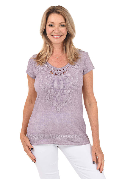 Embroidered Cutout Knit Tee by Coconut Row