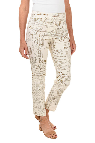 Ivory French News Pull-On Ankle Pant by Krazy Larry