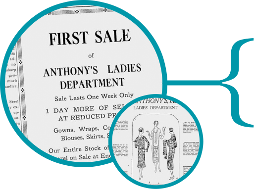 Newspaper ads from the 1920s