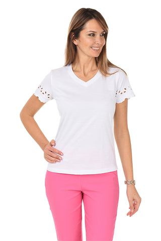 Silky V-Neck Emblems Knit Top