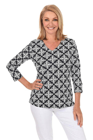 Houndstooth Asymmetrical UPF50 Knit Top