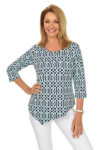 Medallion UPF50+ Scoop Neck Knit Top