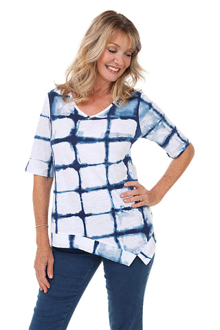 Checkered Crepe Button Back Blouse