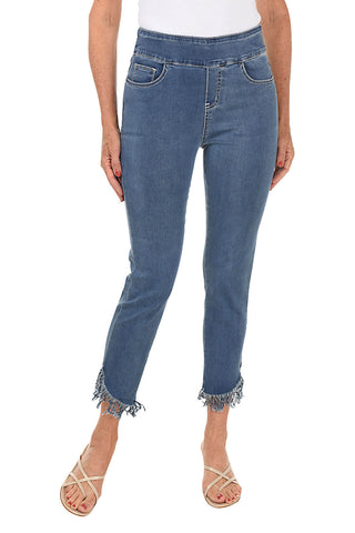 Angular Fringe Pull-On Denim Ankle Pant