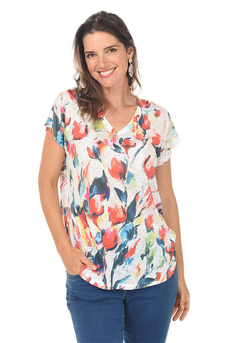 Vibrant Palms UPF50+ Sleeveless Crochet Top