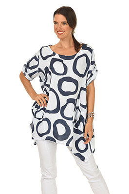 Stripe Contrast Open Sleeve Tunic