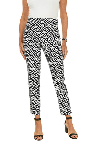 Pinstripe Button-Back Pull-On Capri Pant