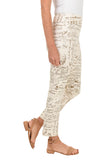 KRAZY LARRY Ivory French News Pull-On Ankle Pant