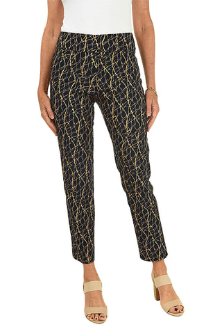 Box Print Pull-On Ankle Pant