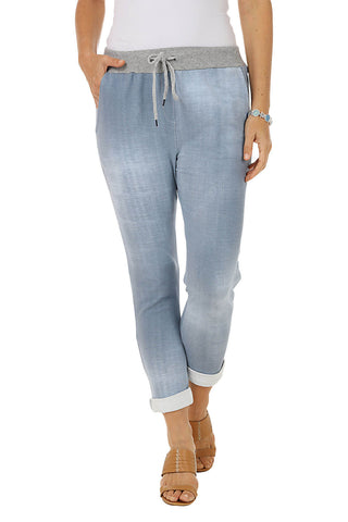 Pull-On Lace Denim Ankle Pant