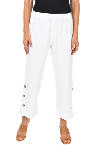 Crested Button Embellished Capri Pant