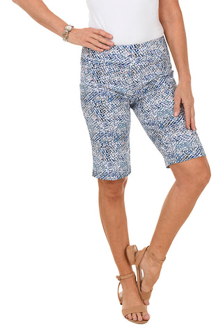 Palm Print Pull-On Bengaline Bermuda Short