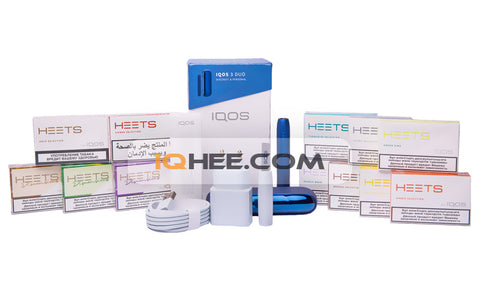 IQOS 3 DUO Kit Stellar Blue + 12 Small Packs of Heets Flavors