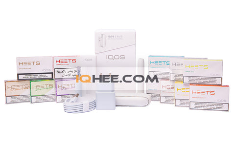 IQOS 3 DUO Kit Warm White + 12 Small Packs of Heets Flavors