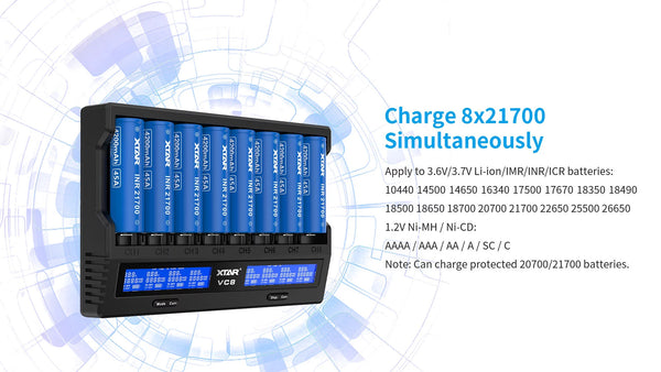 XTAR Intelligent Charger VC8 max 3A 18650 20700 21700 26650 li-ion battery charger
