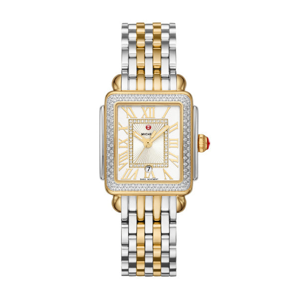 Michele 16MM Deco Madison Mid Two Tone Diamond Watch