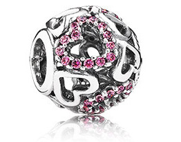 Pandora Falling in Love, Fancy Pink CZ Charm