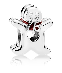 Pandora Charm Sweet Gingerbread Man with Translucent Classic Red Enamel