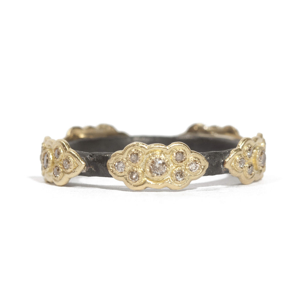 Armenta Old World Yellow Gold Diamond Stackable Band