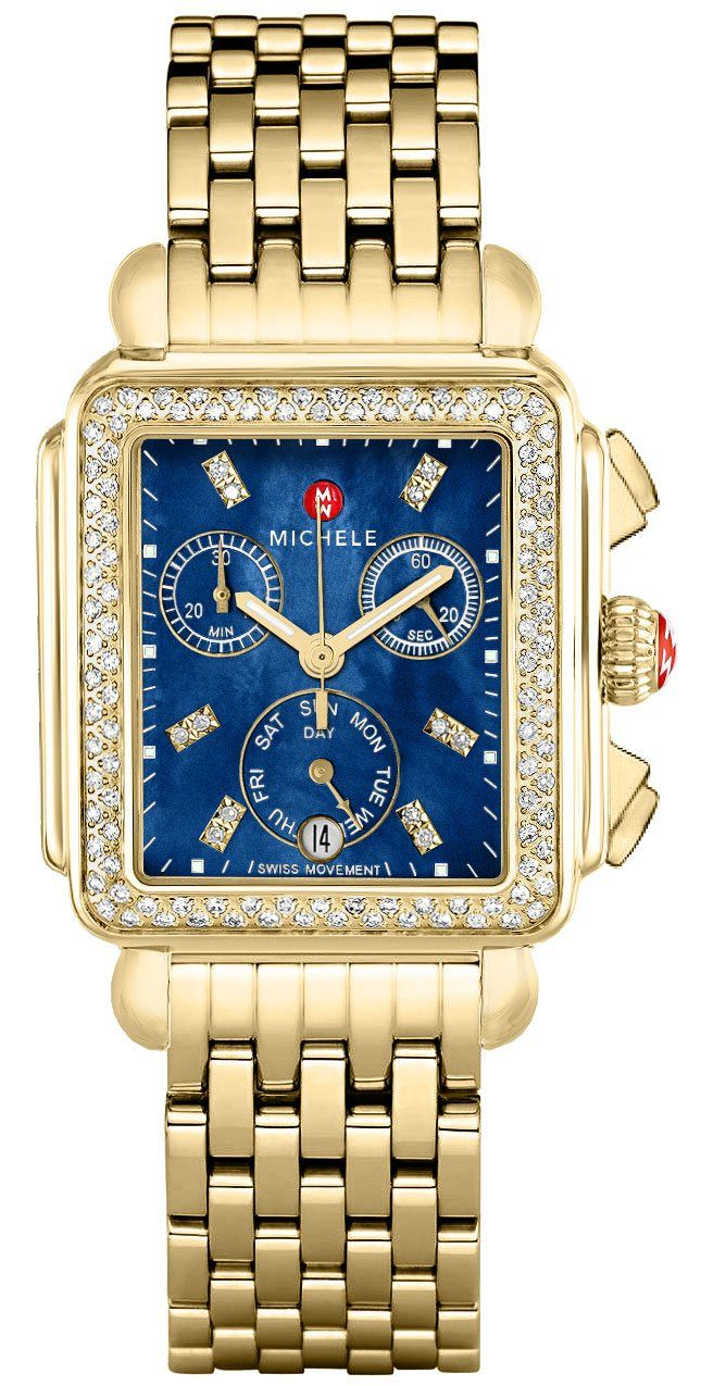 Michele Signature Deco Gold Diamond Watch