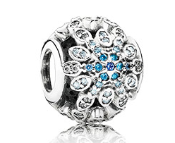 Pandora Crystalized Snowflakes, Blue Crystals & Clear CZ Charm