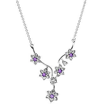 Pandora Forget Me Not, Purple & Clear CZ Necklace